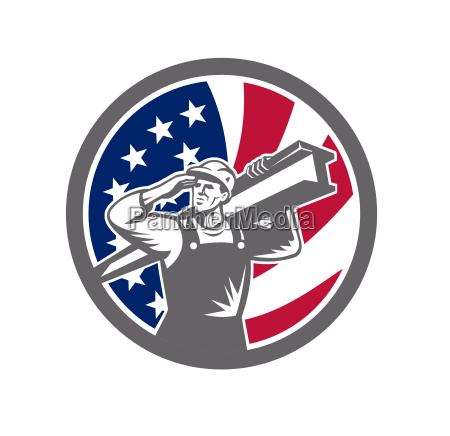 american construction worker usa flag icon