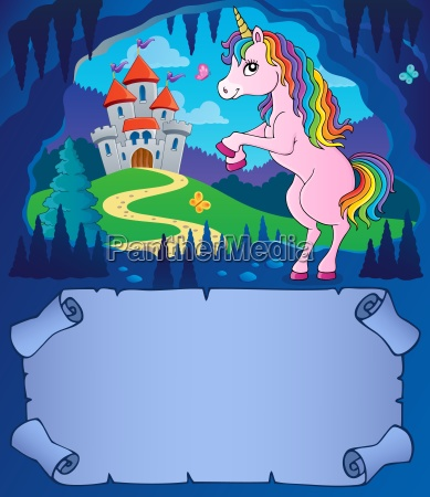 small parchment and unicorn in cave