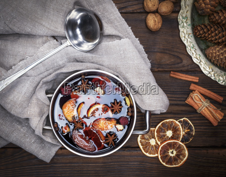 mulled wine with spices and pieces