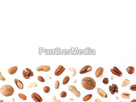 pattern of nuts isolated on whie
