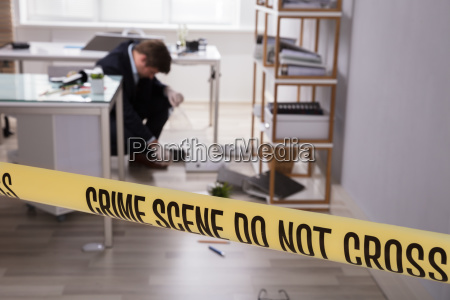 close up of yellow crime scene