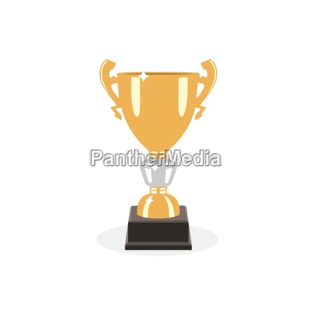 trophy gold cup flat design on