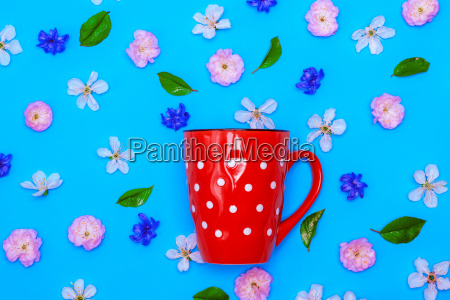 ceramic red mug with white