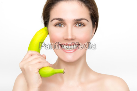 beautiful woman with bananas in her