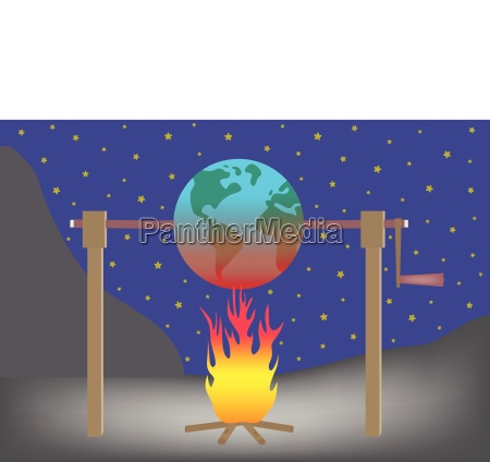 planet earth roasting over fire global