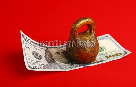 us dollar banknote under weight on