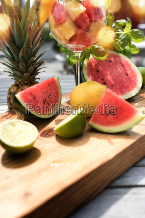 summer fruits on a wooden table