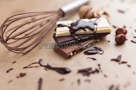 delicious chocolate bars with melted chocolate
