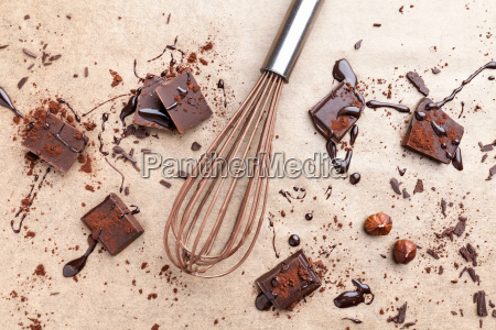 delicious dark chocolate with cocoa powder