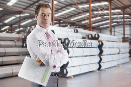 businessman in steel store of engineering