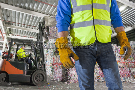 close up of worker with forklift