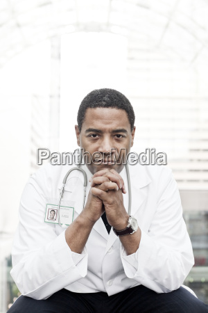 black man doctor in lab coat