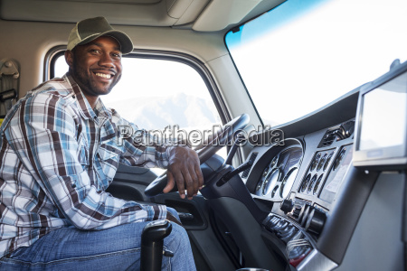 black man truck driver in the