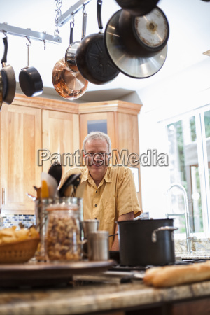 senior man working in a home