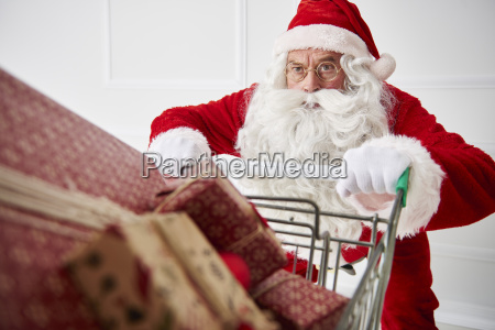 portrait of santa claus with shopping