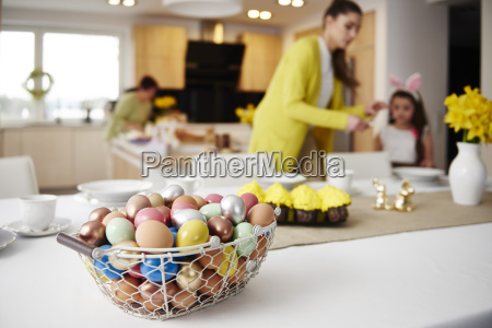 easter eggs in basket on table