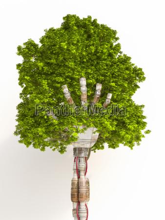 robot hand holding tree 3d rendering