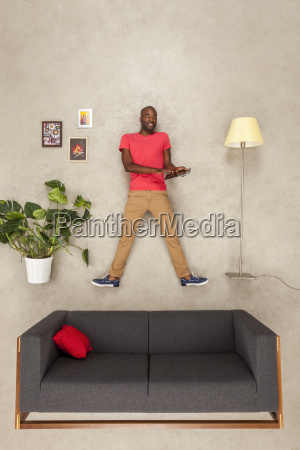 man at home in his livingroom