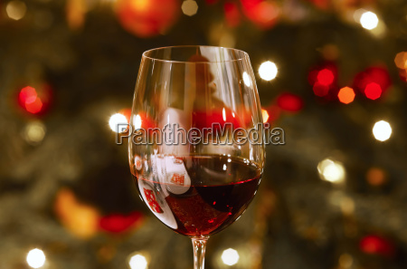 glass of red wine at christmas