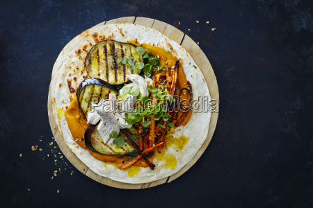 pulled chicken wrap carrot grilled aubergine