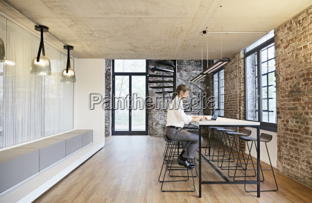 businessman using laptop in modern office