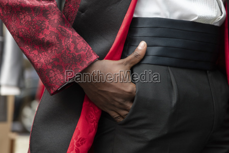 detail of a man wearing tuxedo