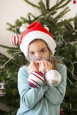 portrait of little girl with christmas