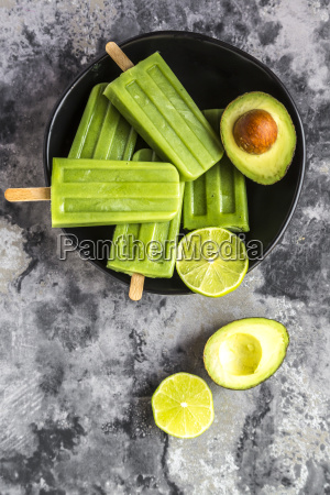 avocado lime ice lollies in bowl