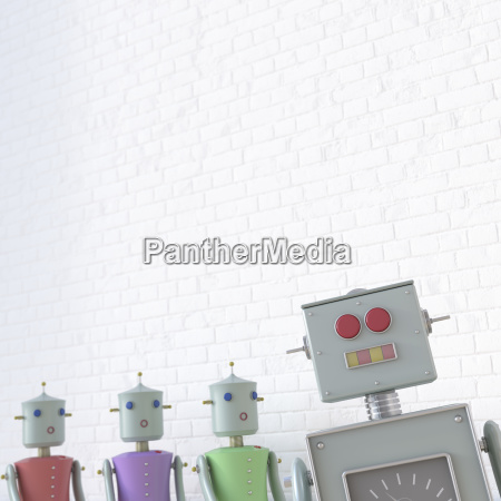 female robots looking at male robot