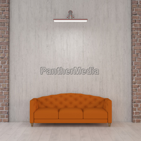 orange couch under wall lamp 3d