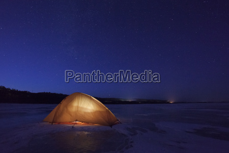 russia amur oblast illuminated tent on