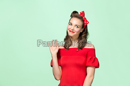 beautiful young woman with pinup make