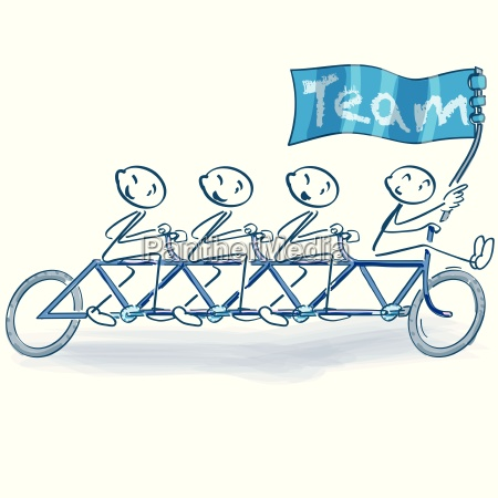 stick figure as a bicycle troop