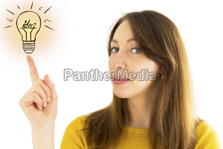 woman pointing to illustration of light