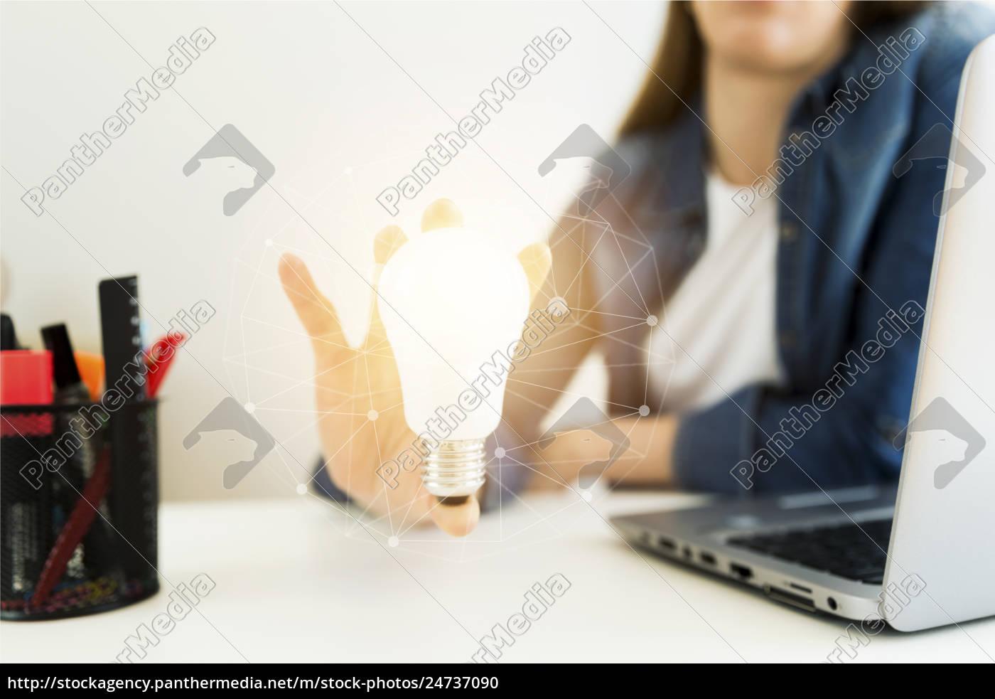 business, women's, , designer's, hand, holding, light - 24737090