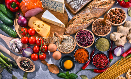 composition with assorted organic food products