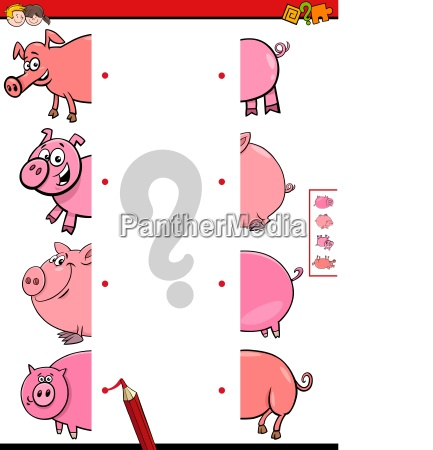 match halves of pigs educational game