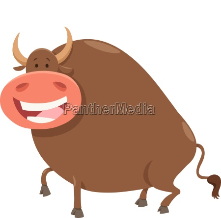 happy bull cartoon farm animal character