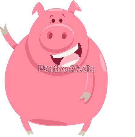pig animal character cartoon illustration