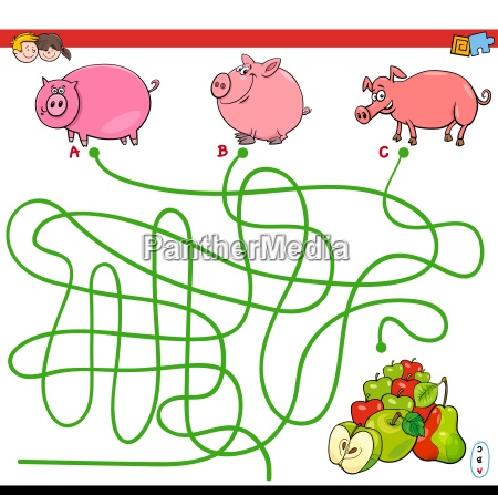paths maze game with pigs and