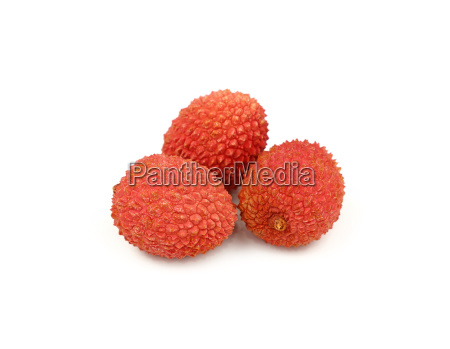 fresh red lychee isolated close up