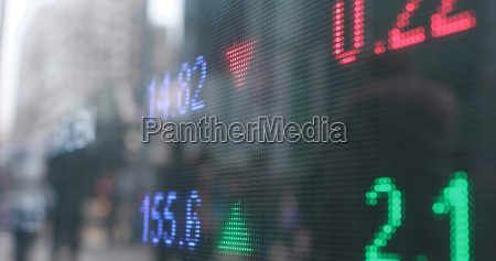 stock market showing the prices of