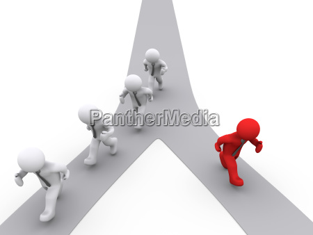 different 3d businessman running on the