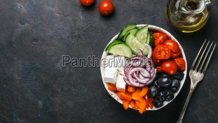 greek salad bowl copy space top