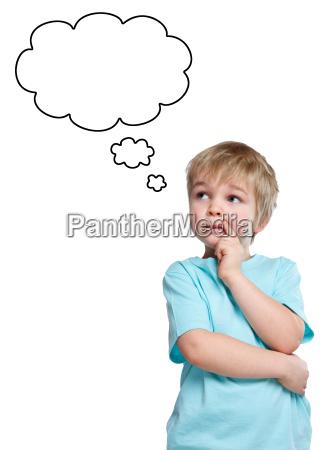 child little boy thinking dream ingenuity