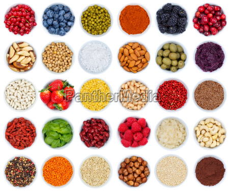 fruits berries vegetable collection nuts isolated