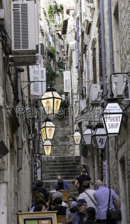 narrow path with stairs in old
