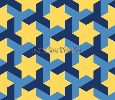 vector seamless blue yellow geometric star