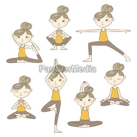 set of prenatal yoga poses isolated