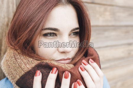 close up of woman in scarf